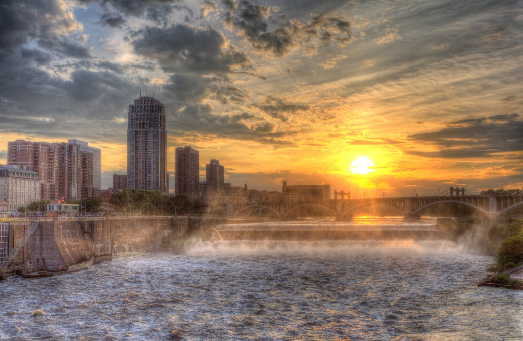 Sunset Over St. Anthony Falls